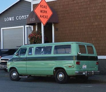Sweet green 80's van in Friday Harbor Washington