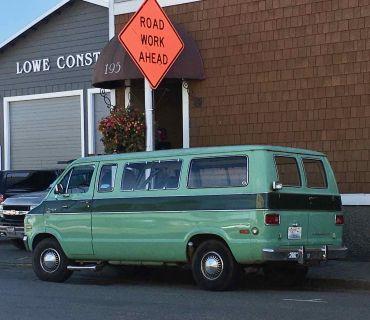 Sweet green 80's van in Friday Harbor Washington