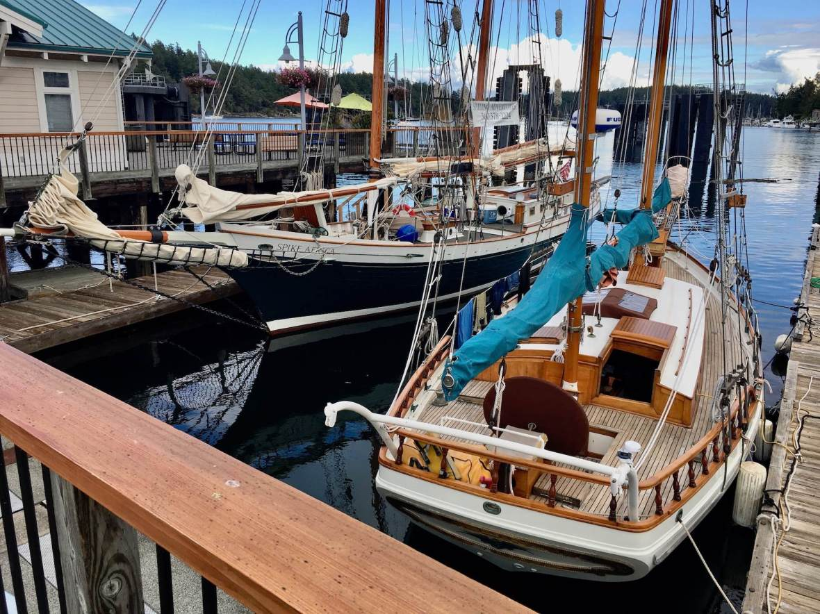 Wooden sailboats boats in Friday Harbor, Washington