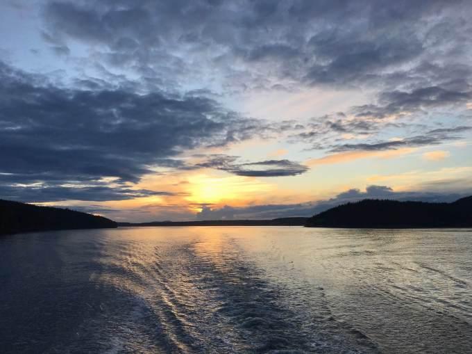Sunset from the ferry San Juan Islands