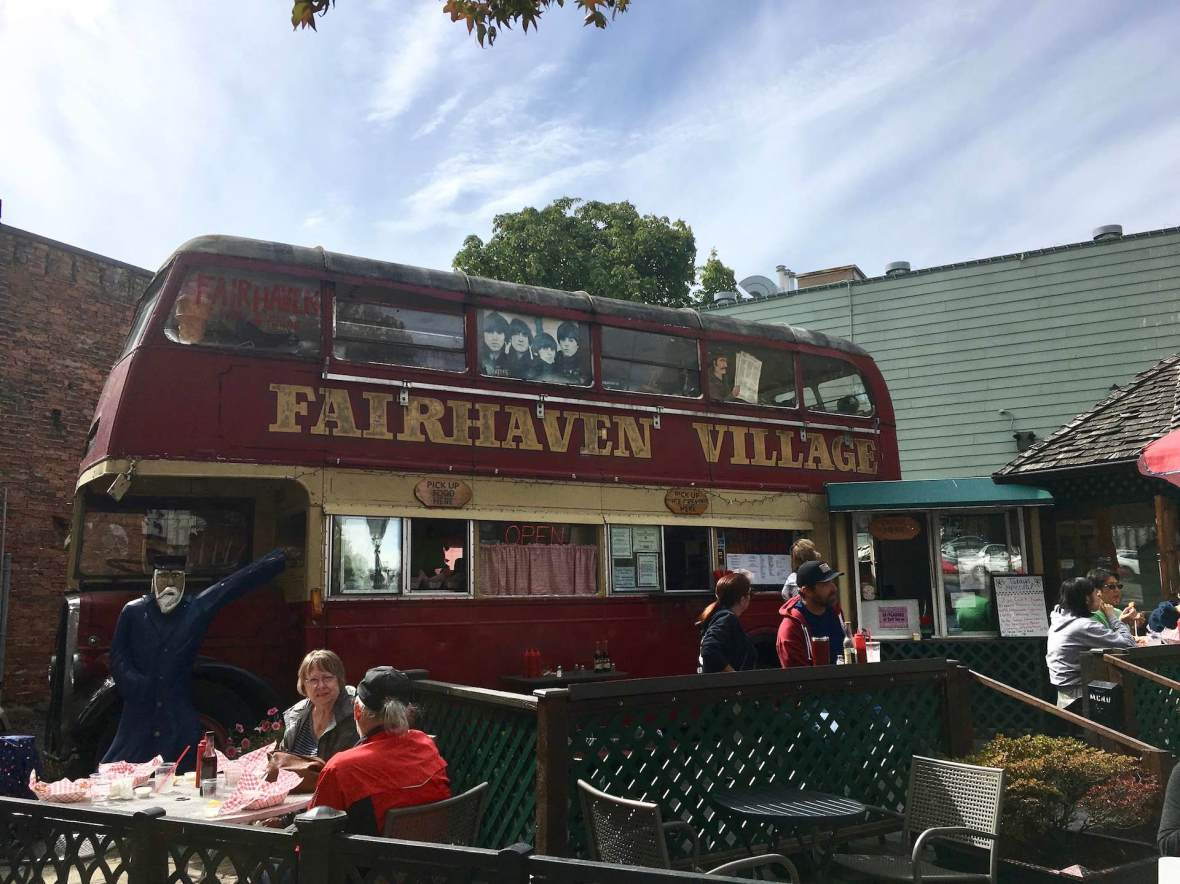 Fairhaven Fish & Chips double-decker bus in Bellingham, Washington