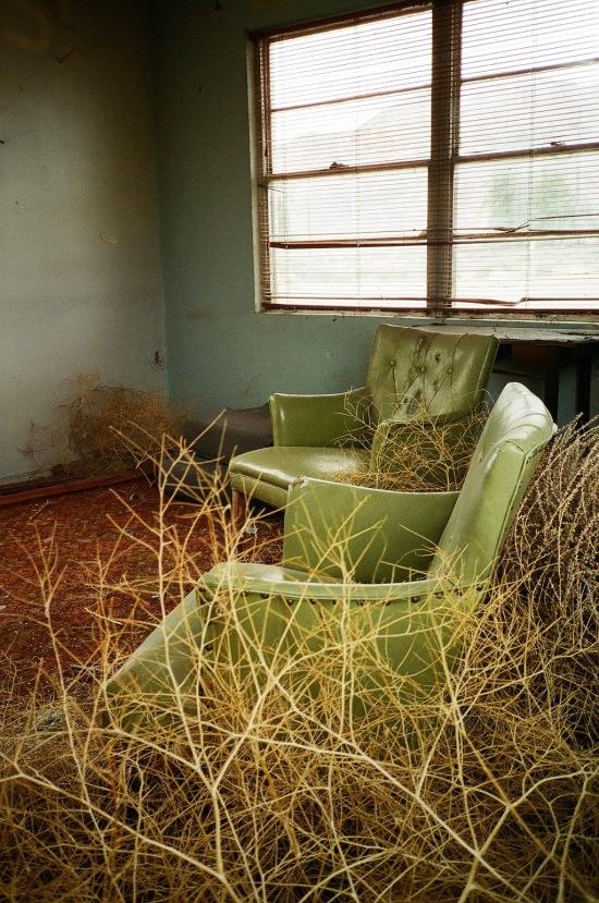 35mm film photography Tumbleweeds inside the Thompson Springs Motel, Utah