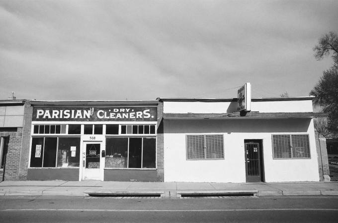 Parisian Dry Cleaners in Las Vegas, New Mexico 35mm film photograph shot on Kodak Tri-X 400with Nikon F2