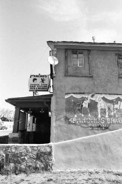 Pancho's Barber Shop in Las Vegas, New Mexico 35mm film photograph shot on Kodak Tri-X 400with Nikon F2