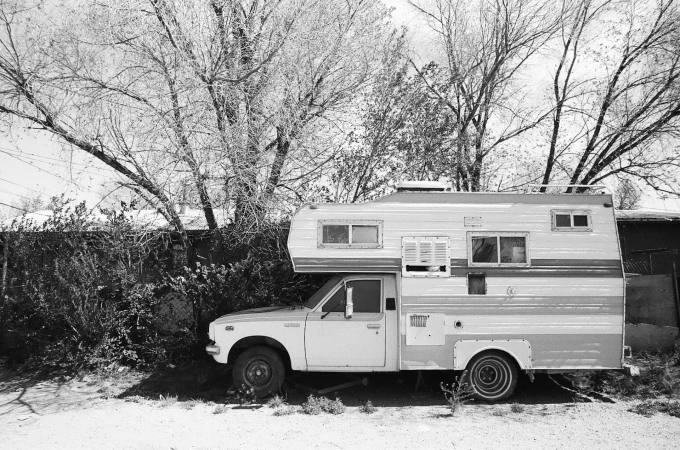 Sweet vintage truck camper in Las Vegas, New Mexico 35mm film photograph shot on Kodak Tri-X 400with Nikon F2