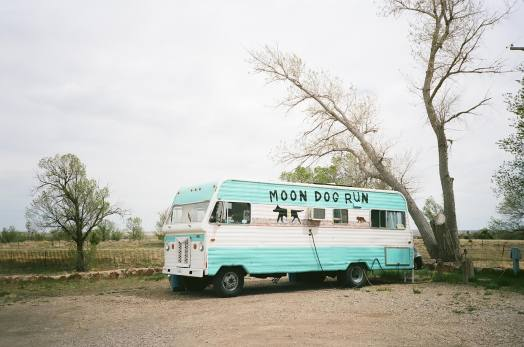 Retro RV at Storrie Lake State Park in Las Vegas, New Mexico 35mm film photograph shot on Kodak Portra 400 with Nikon L35AF