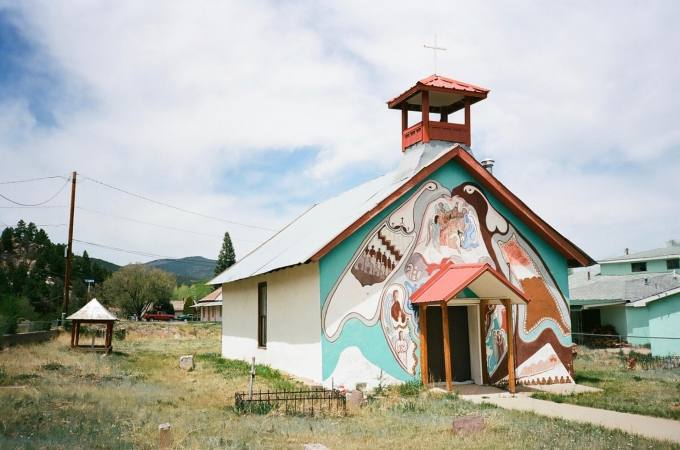 Cristo Rey Church near Montezuma and Las Vegas, New Mexico 35mm film photograph shot on Portra 400 with Nikon L35AF