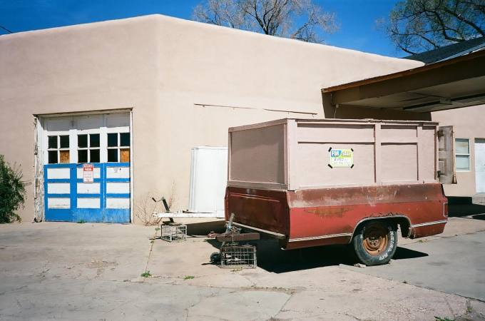 Homemade cargo trailer in Las Vegas, New Mexico 35mm Film Photography Nikon L35AF Kodak Ektar 100
