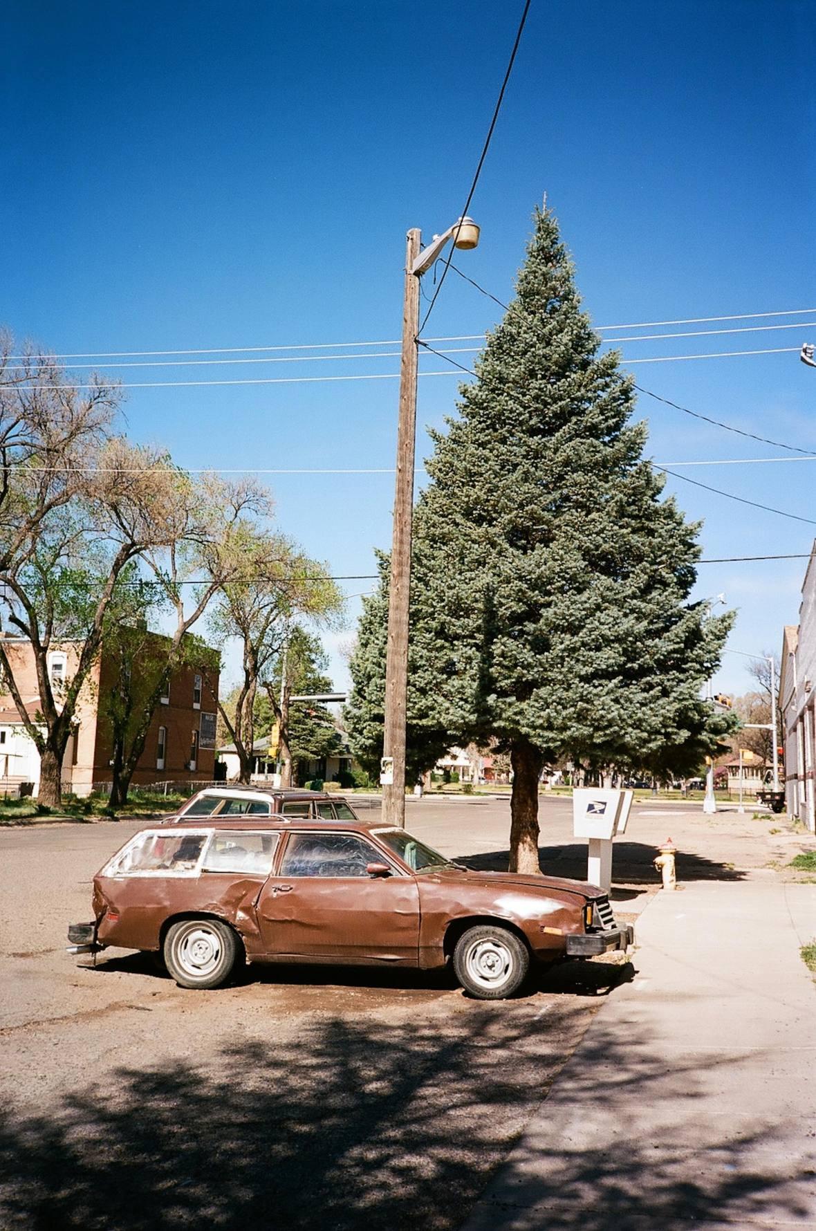 in Las Vegas, New Mexico 35mm Film Two Brown Stationwagons in Photography Nikon L35AF Kodak Ektar 100