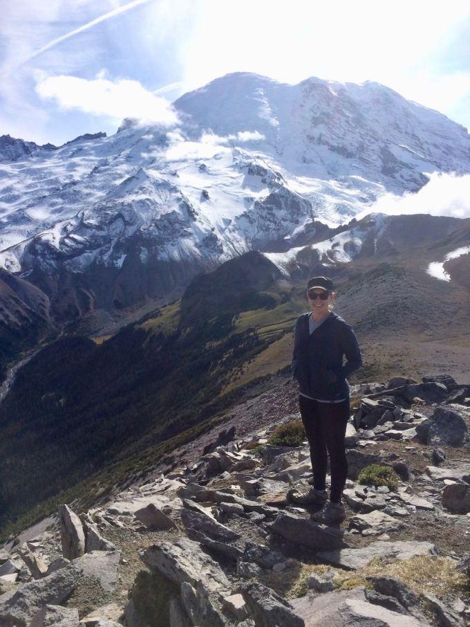 Marsi taking a break in front of Mount Rainier