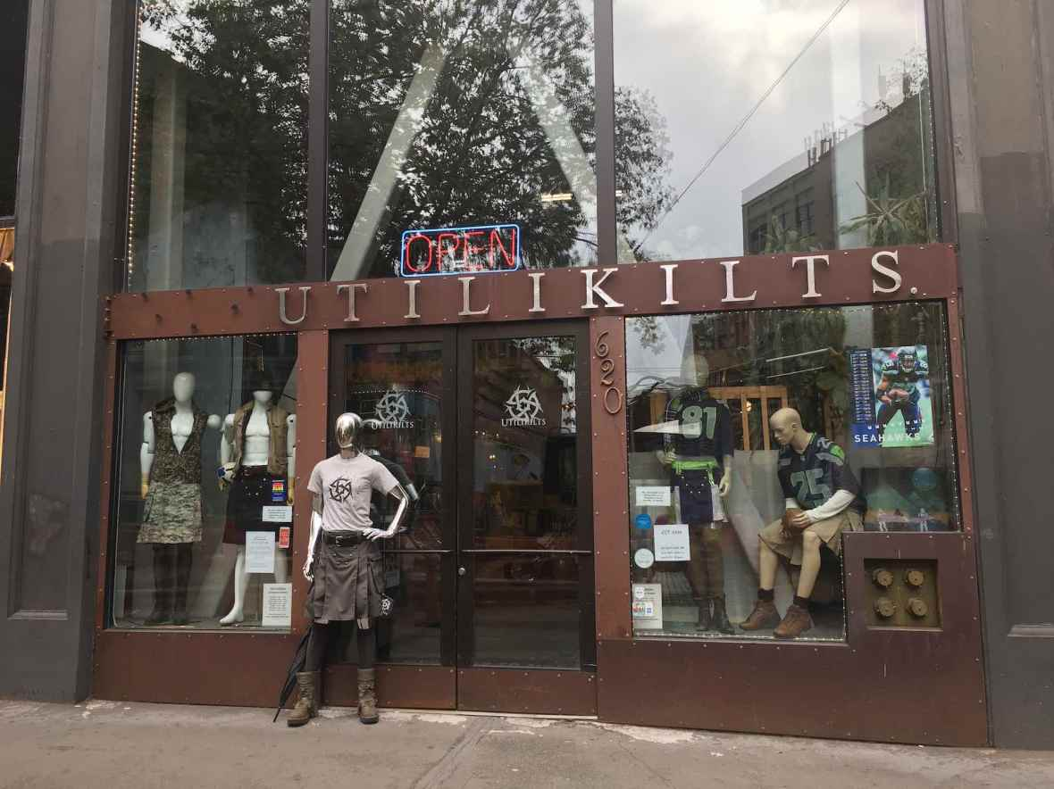 Utilikilts Storefront in Seattle's Pioneer Square