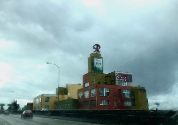 Old Ranier Beer Brewery on a rainy day in Seattle