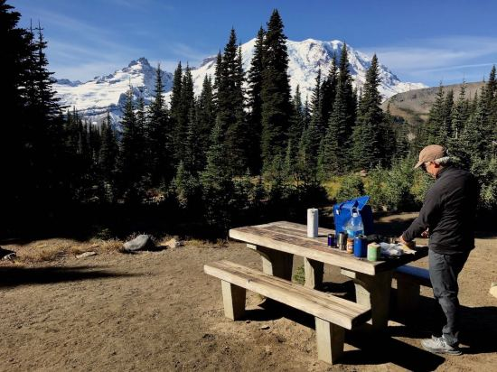 Incredible view of Mount Rainier from our picnic table at Sunrise