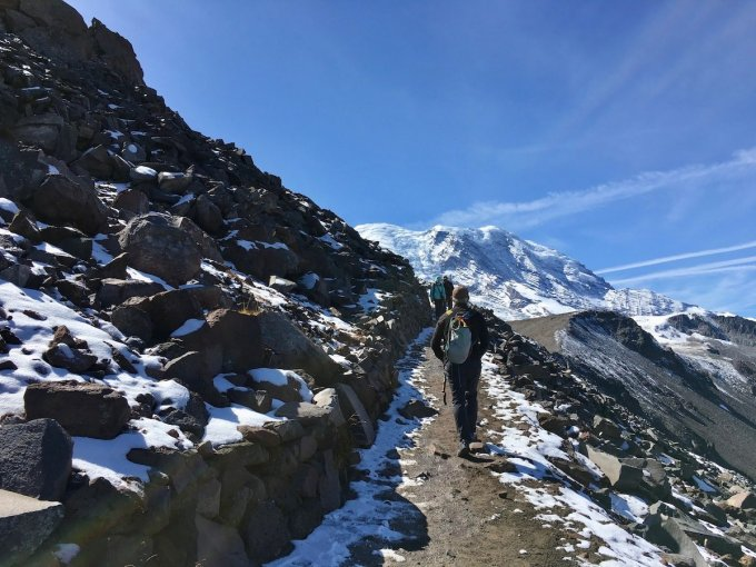 Hiking through Talus slope on Trail to First Burroughs Mount Rainier National Park