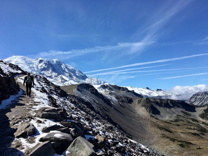 Continuing up through talus slope on Burroughs trail toward Mount Rainier