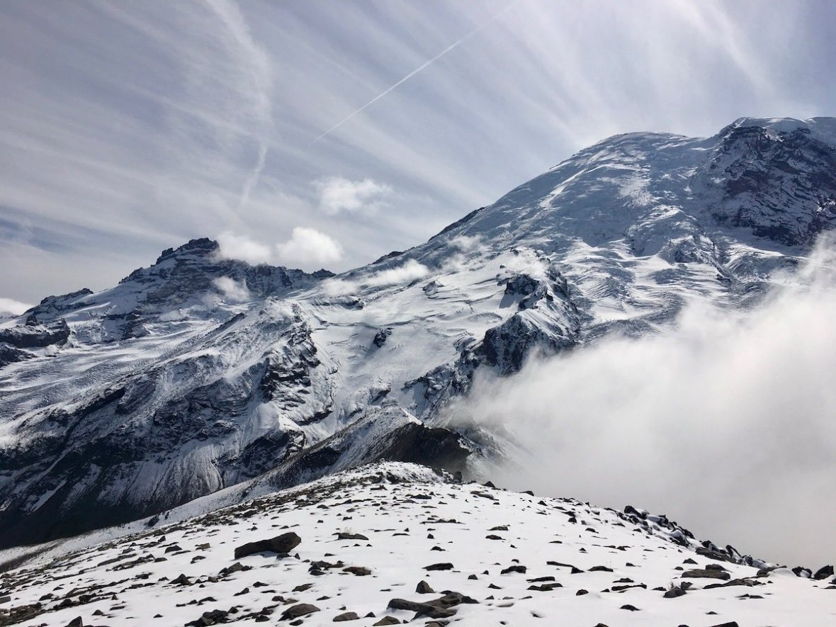 Mount Rainier making its own weather - view from Third Burroughs