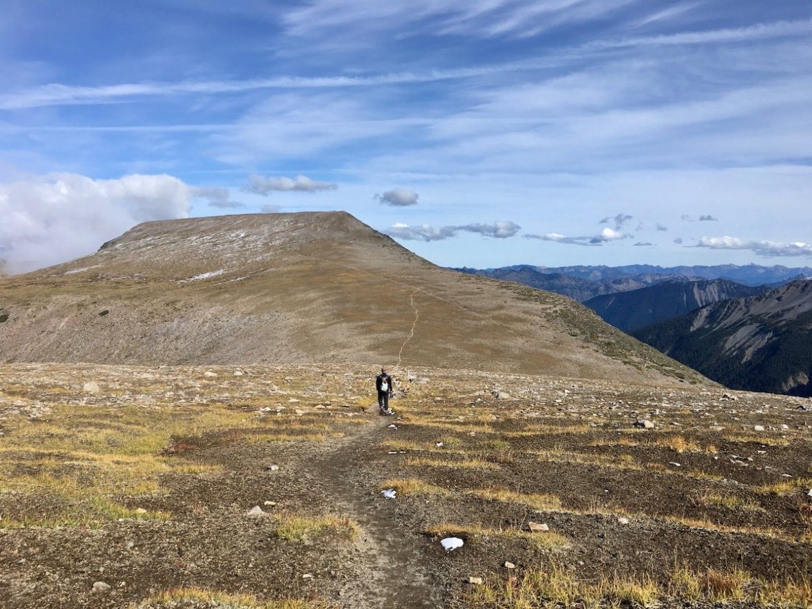Retracing our steps through the Tundra to Second Burroughs in Mount Rainier National Park