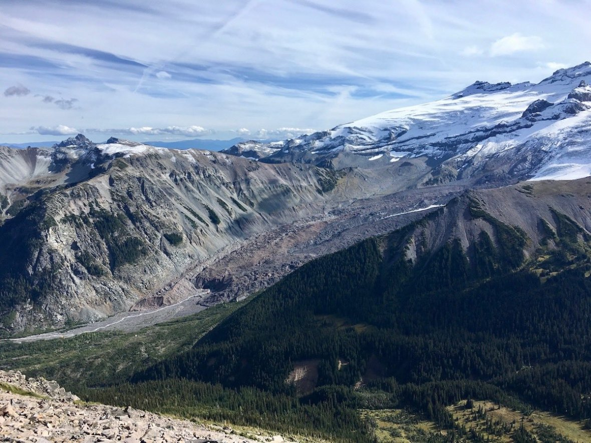 Views of the White River, Emmons Moraine, Frying Pan Glacier, and Goat Island Mountain from the Sunrise Rim trail in Mount Rainier National Park
