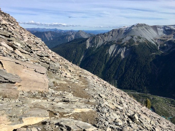 Hiking mountainside through Talus slope on the Sunrise Rim trail in Mount Rainier National Park