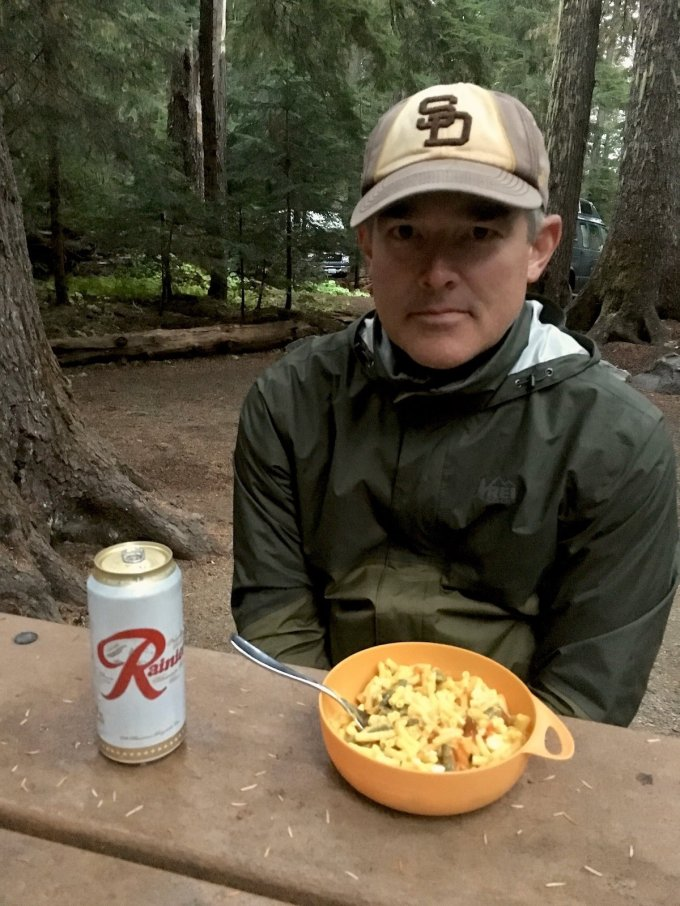Enjoying a Rainier Beer and Macaroni dinner at the campground after a long day of hiking