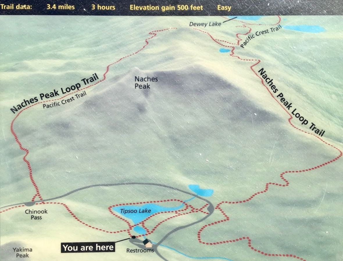 Naches Peak Loop trail map Mount Rainier National Park