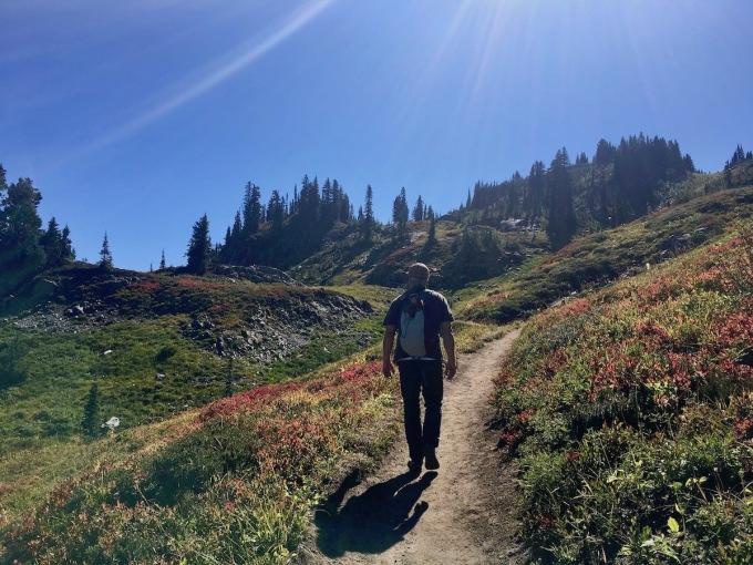 Hiking through subalpine forest via the Naches Peak loop trail in Okanogan-Wenatchee National Forest