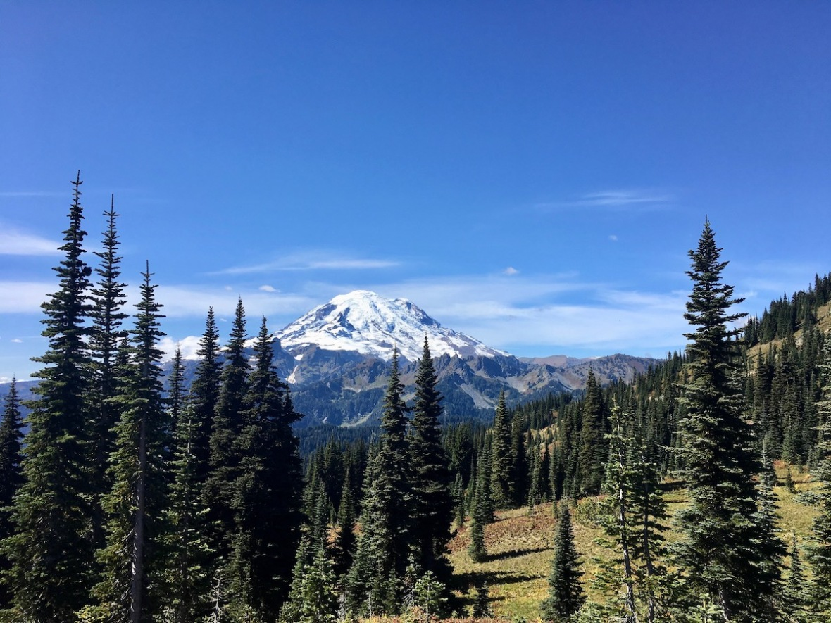 View of Mount Rainier from the Naches Peak loop trail in Mount Rainier National Park
