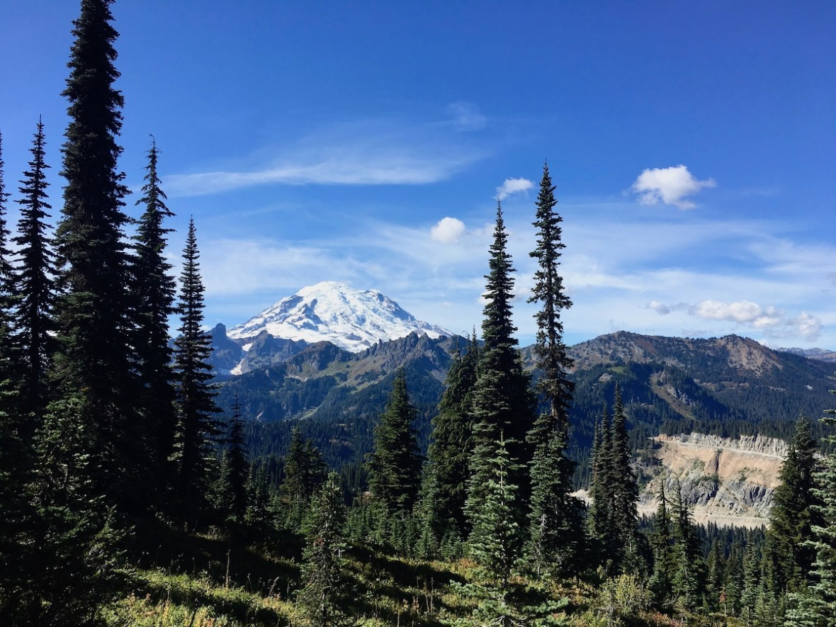 View of Mount Rainier from Naches Peak parking area