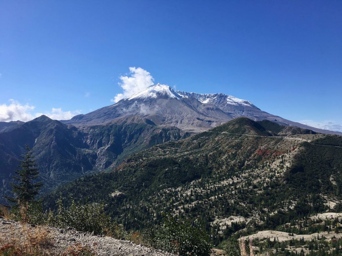 Viewpoint along scenic drive on east side of Mount St. Helens National Volcanic Monument