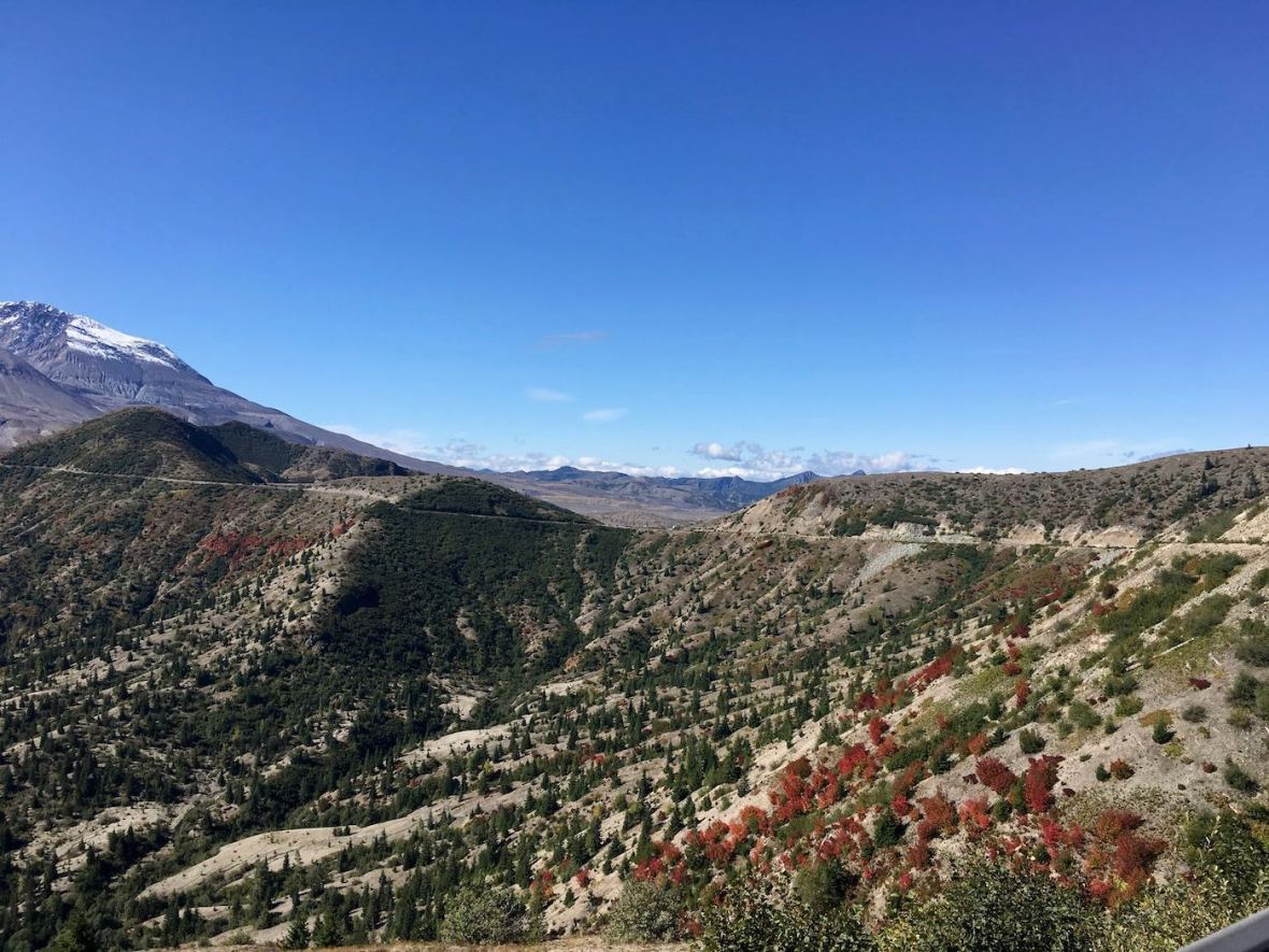 Scenic drive on east side of Mount St. Helens National Volcanic Monument
