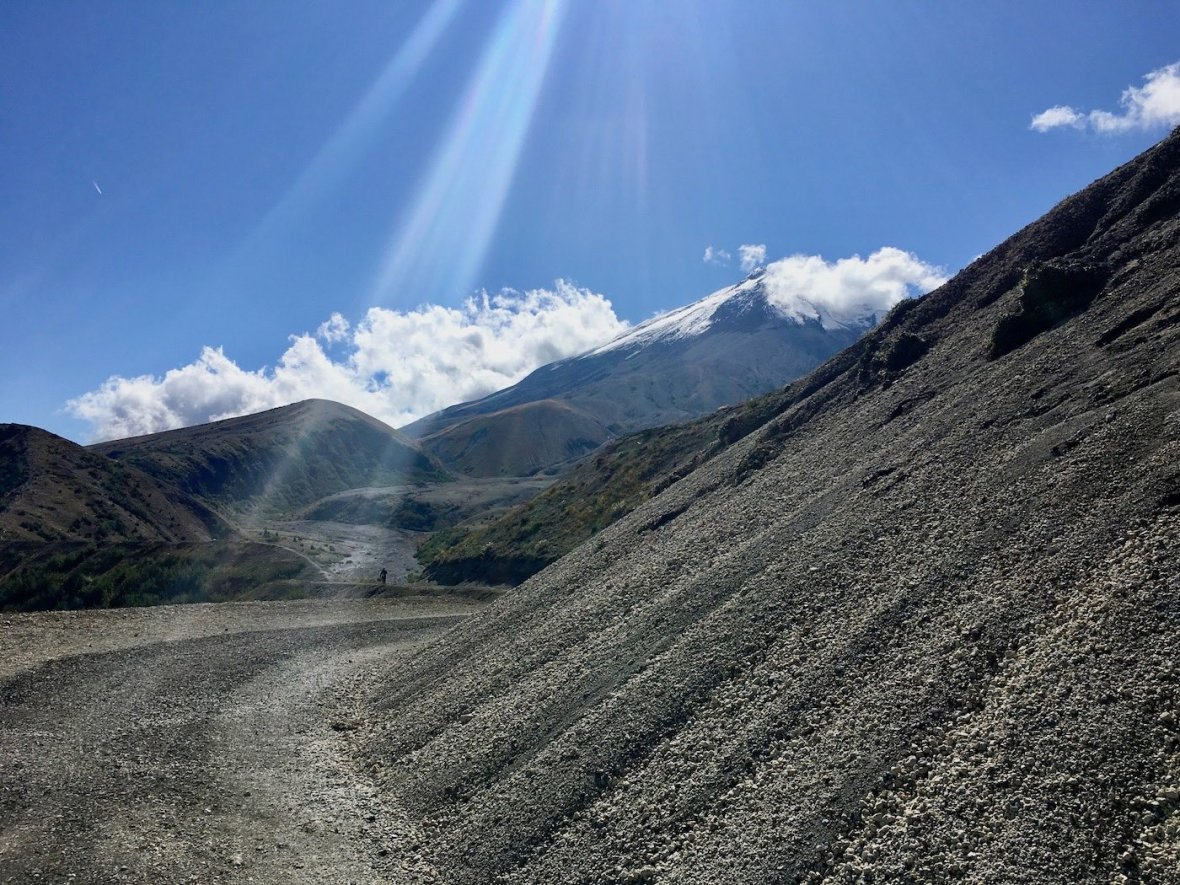 Pumice covers this nearly vacant section of mountainside in the blast zone at Mount St. Helens National Volcanic Monument