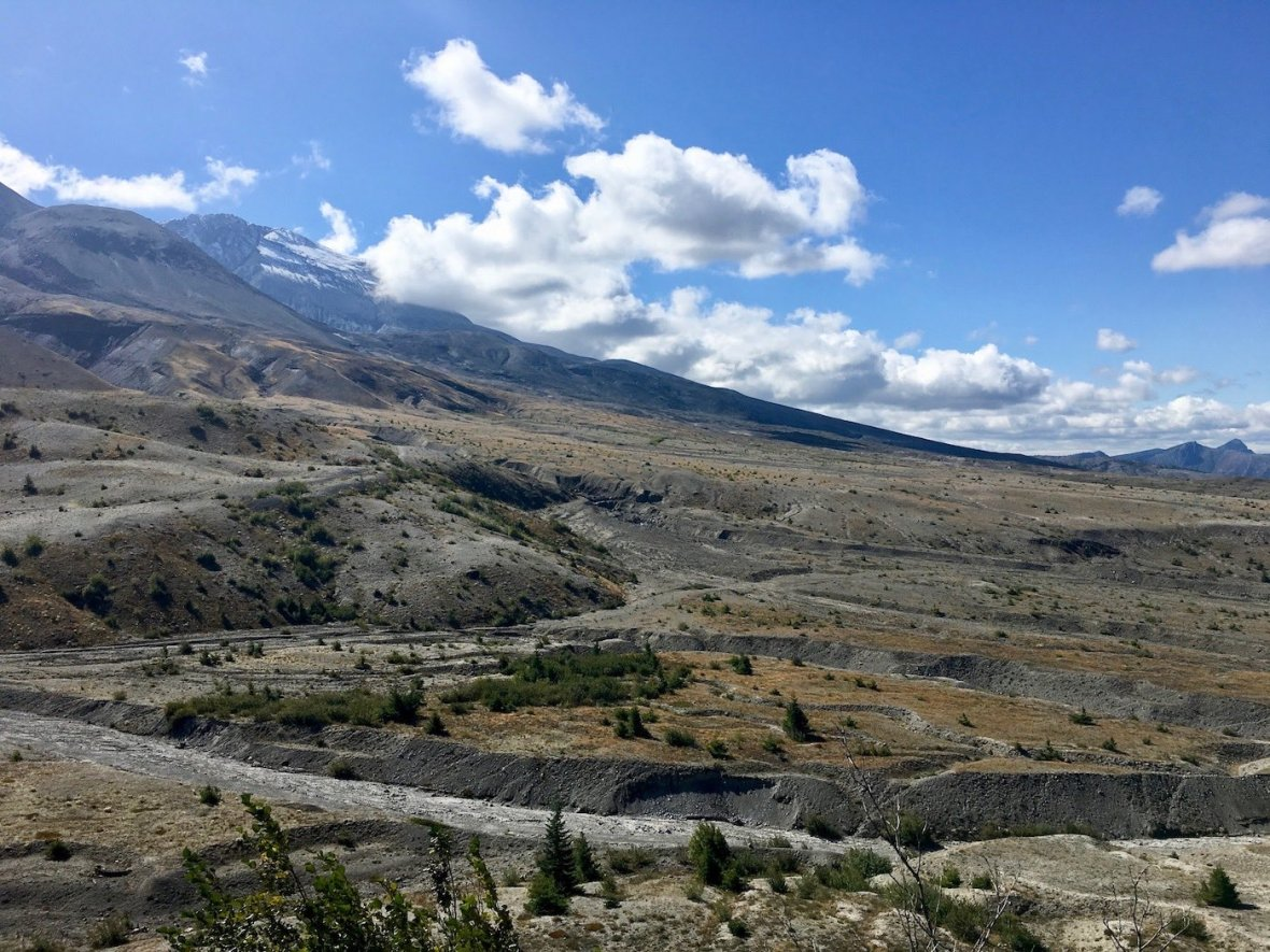 Compressed Ash and Lava flows extending from Mount St. Helens