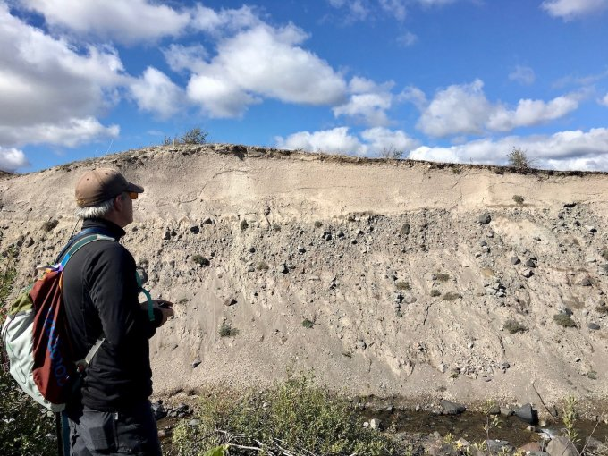 Wall of pumice eroded by the creek in Mount St. Helens National Volcanic Monument