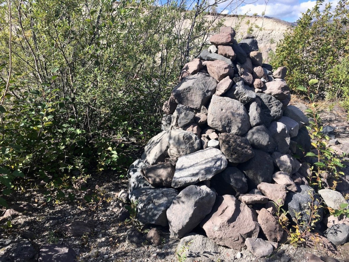 Stone Monument in the Thicket at Mount St. Helens National Volcanic Monument