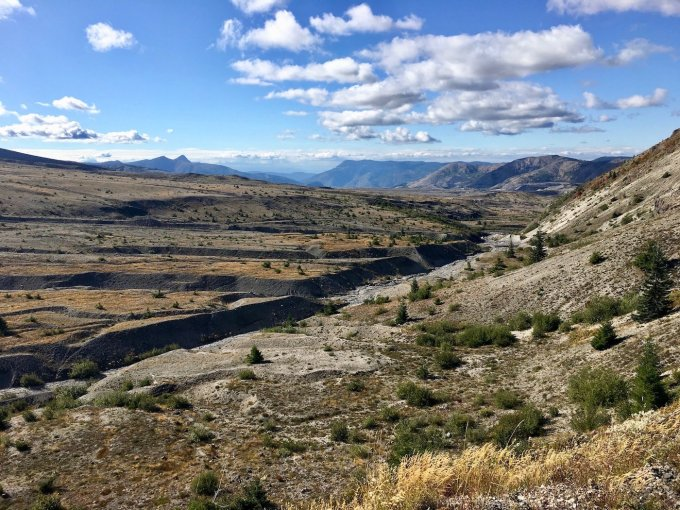 Overlooking the pumice field from Trail #207 in Mount St. Helens National Volcanic Monument