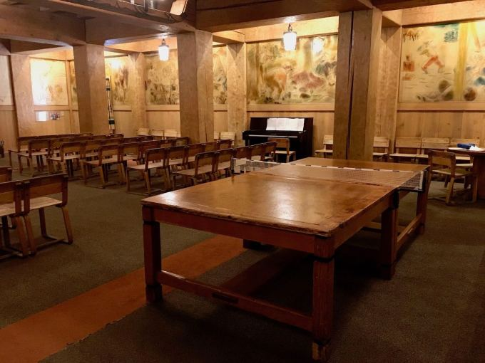 Antique Ping Pong table and murals Interior of Timberline Lodge in Mt. Hood, Oregon