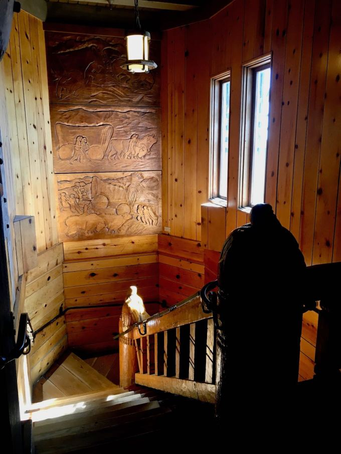 Carved Wood Art Panels and newel posts in the Timberline Lodge, Mt. Hood