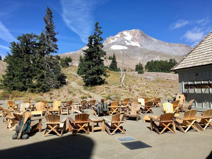 Adirondack Chairs on Timberline Lodge Patio Mt. Hood, Oregon