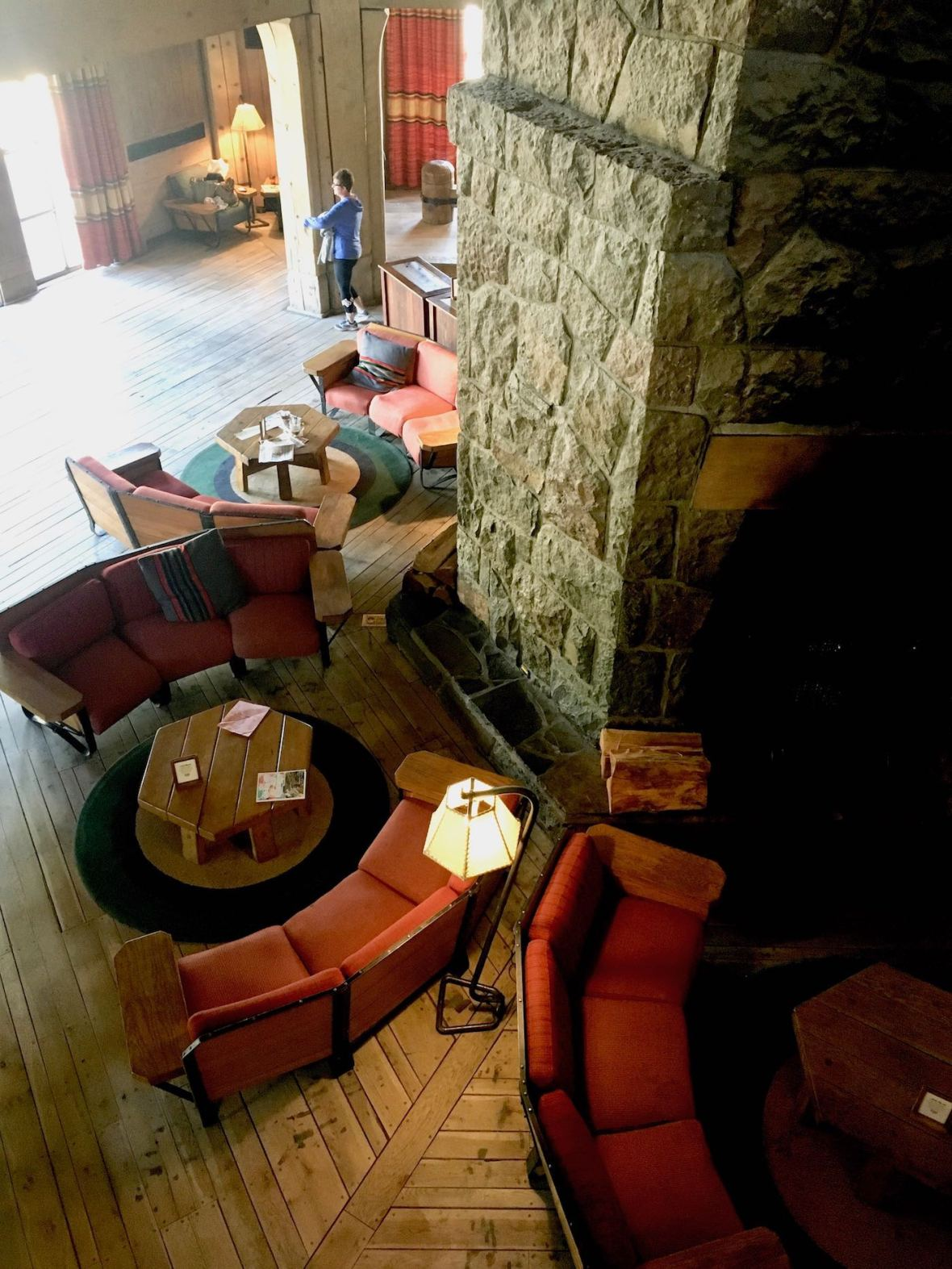 Apres-Ski Cozy conversation areas at Timberline Lodge in Mt. Hood, Oregon