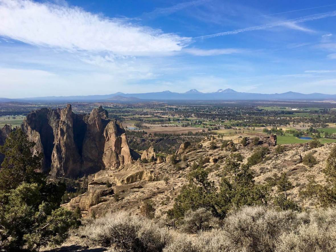 Looking West from the Misery Ridge Trail at the Cascade Mountains, Smith Rock State Park in Oregon