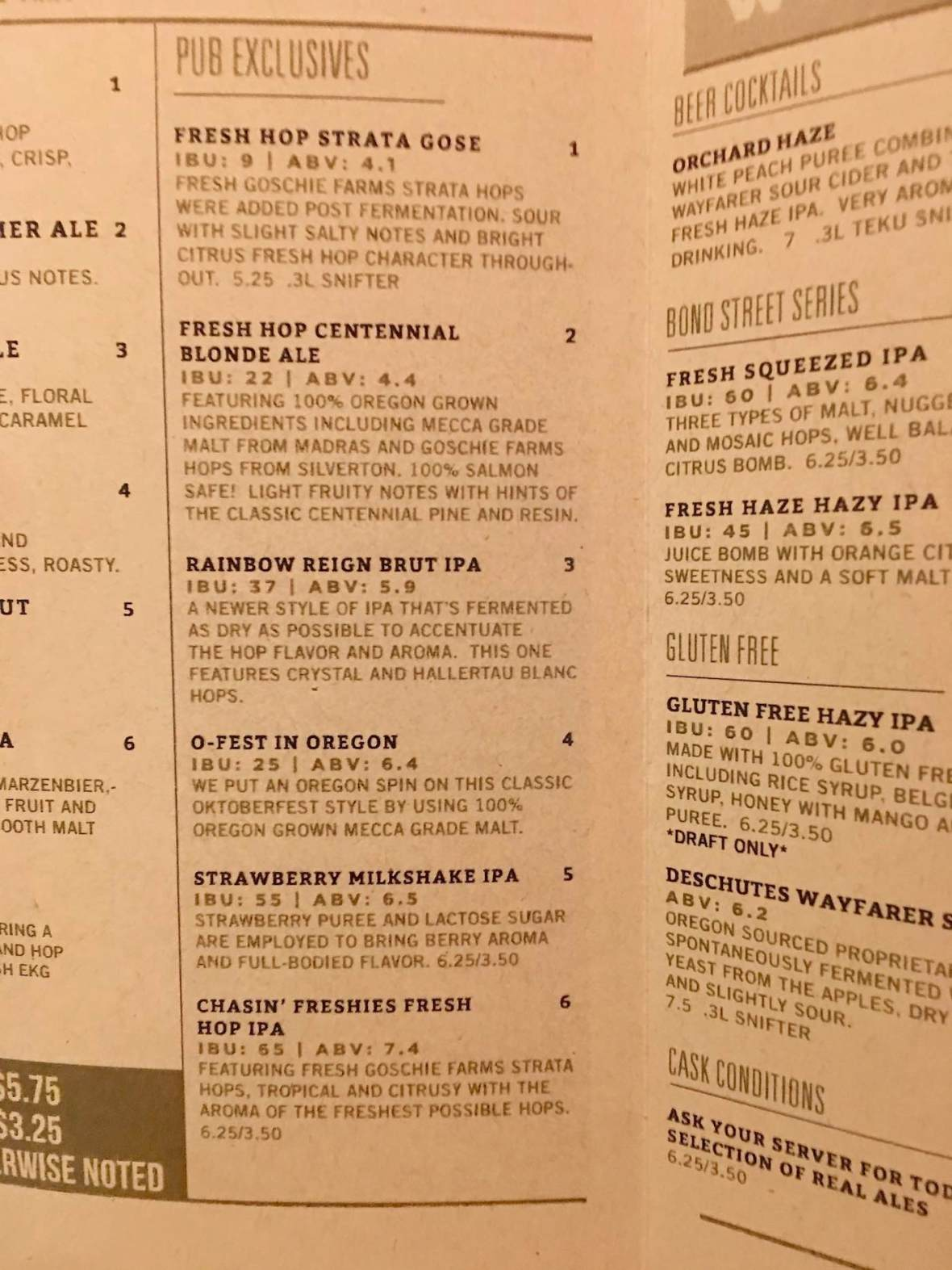 Seasonal Beer Menu at Deschutes Brewery and Public House in downtown Bend, Oregon