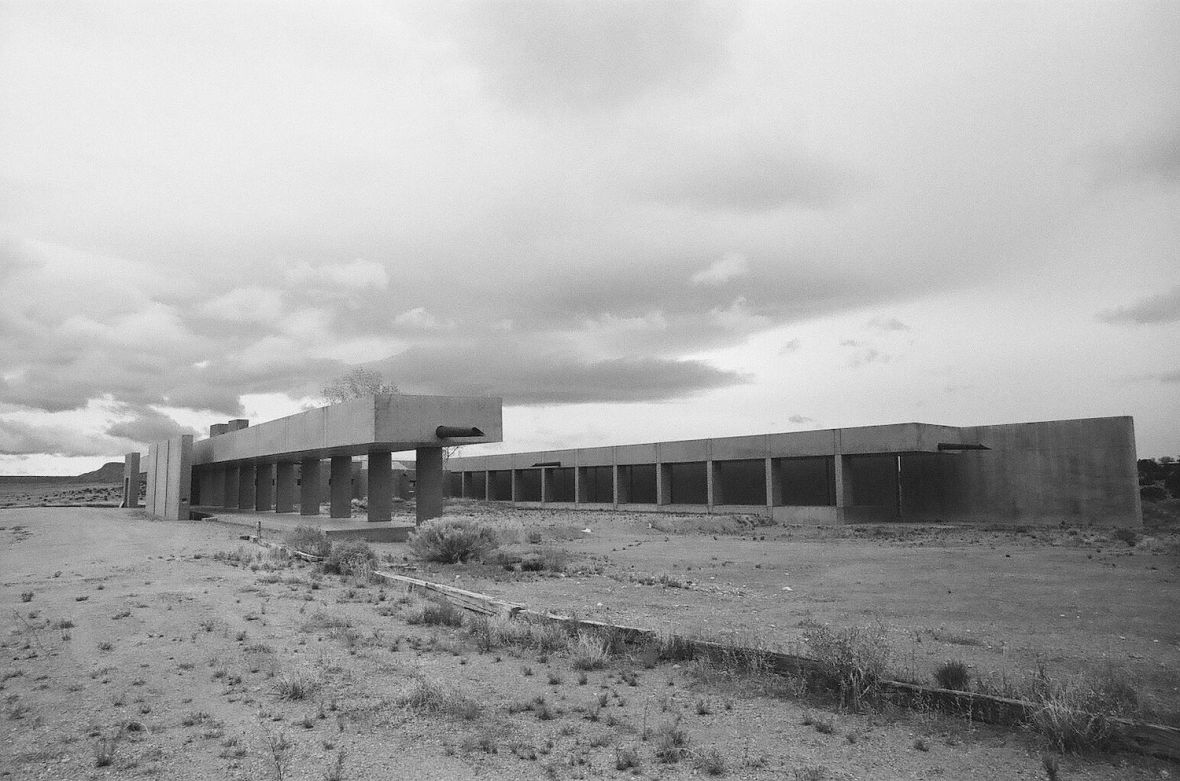 35mm black and white film photograph of Modern house, modernist architecture in Galisteo, New Mexico