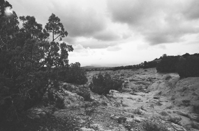 35mm black and white film photograph  - Hiking through the Galisteo Basin, New Mexico