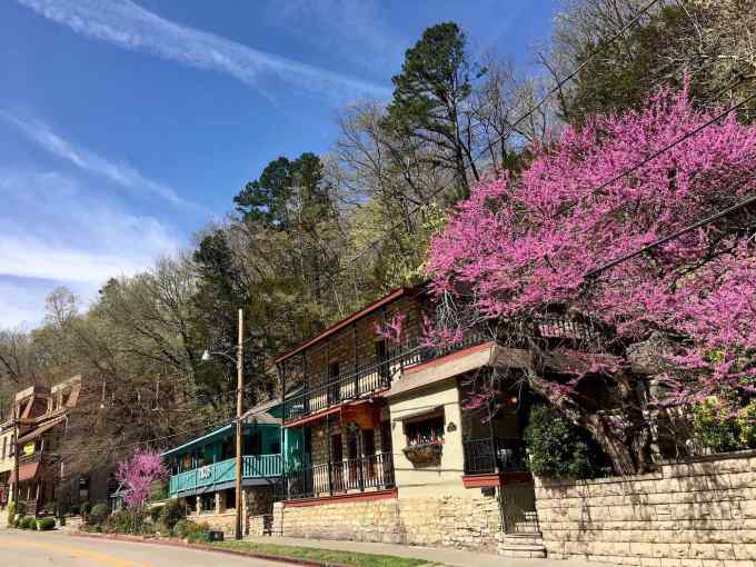 Eureka Springs in April with Redbuds in bloom