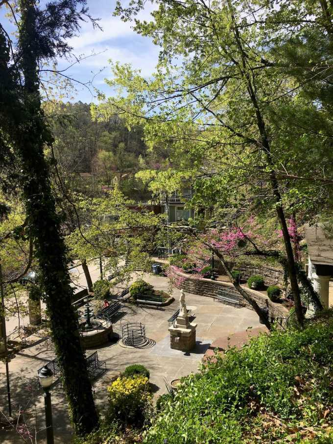 Overlooking Basin Spring Park in downtown Eureka Springs, Arkansas