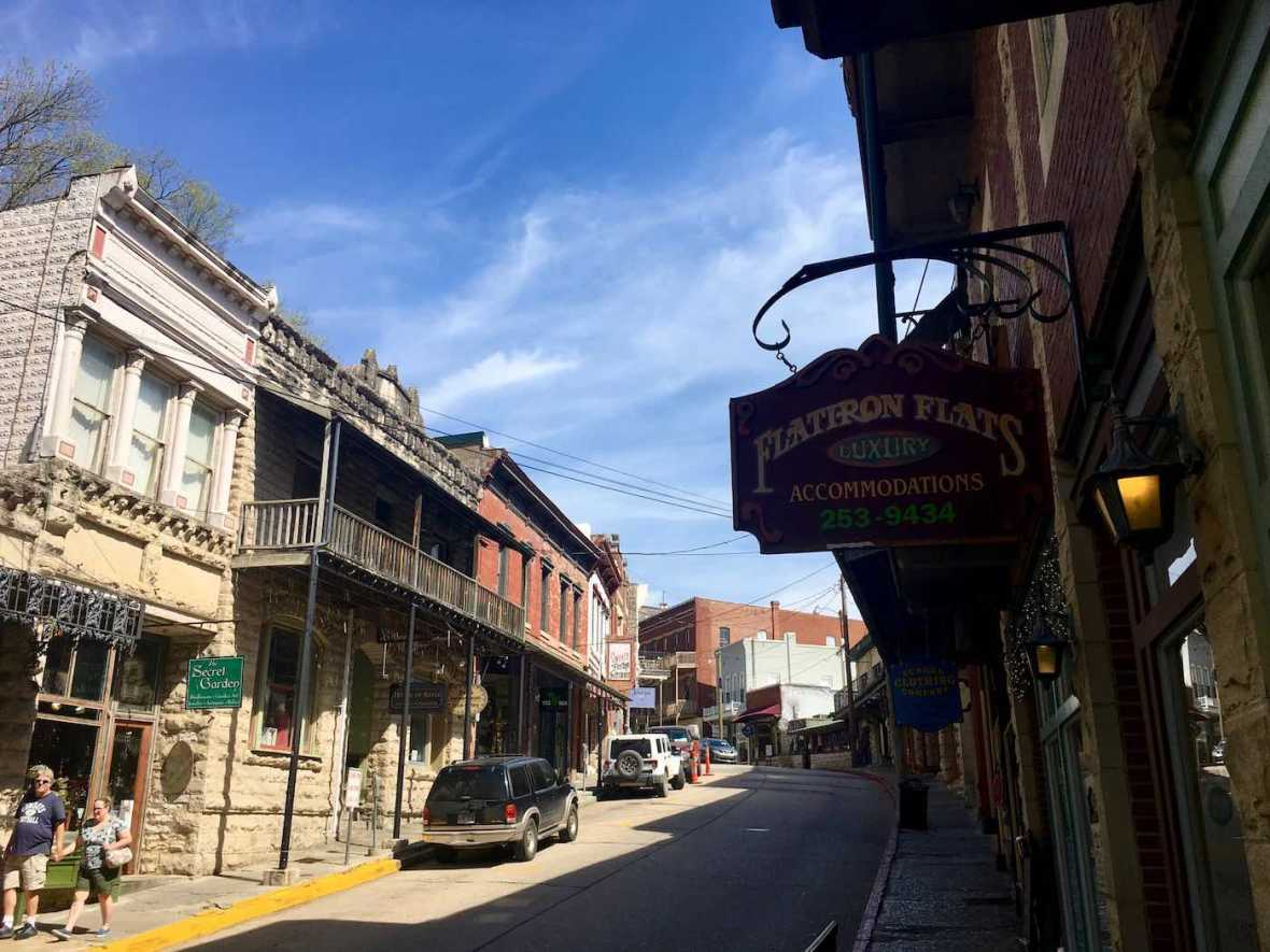 Spring Street in historic downtown Eureka Springs, Arkansas