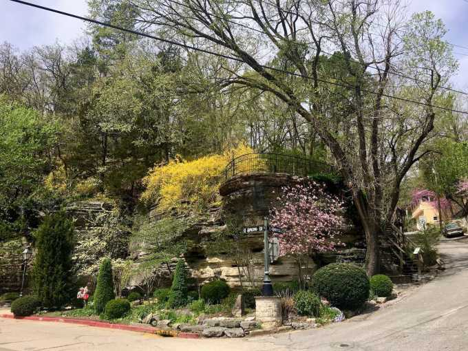 Pocket park built into the limestone bluff in Eureka Springs, Arkansas