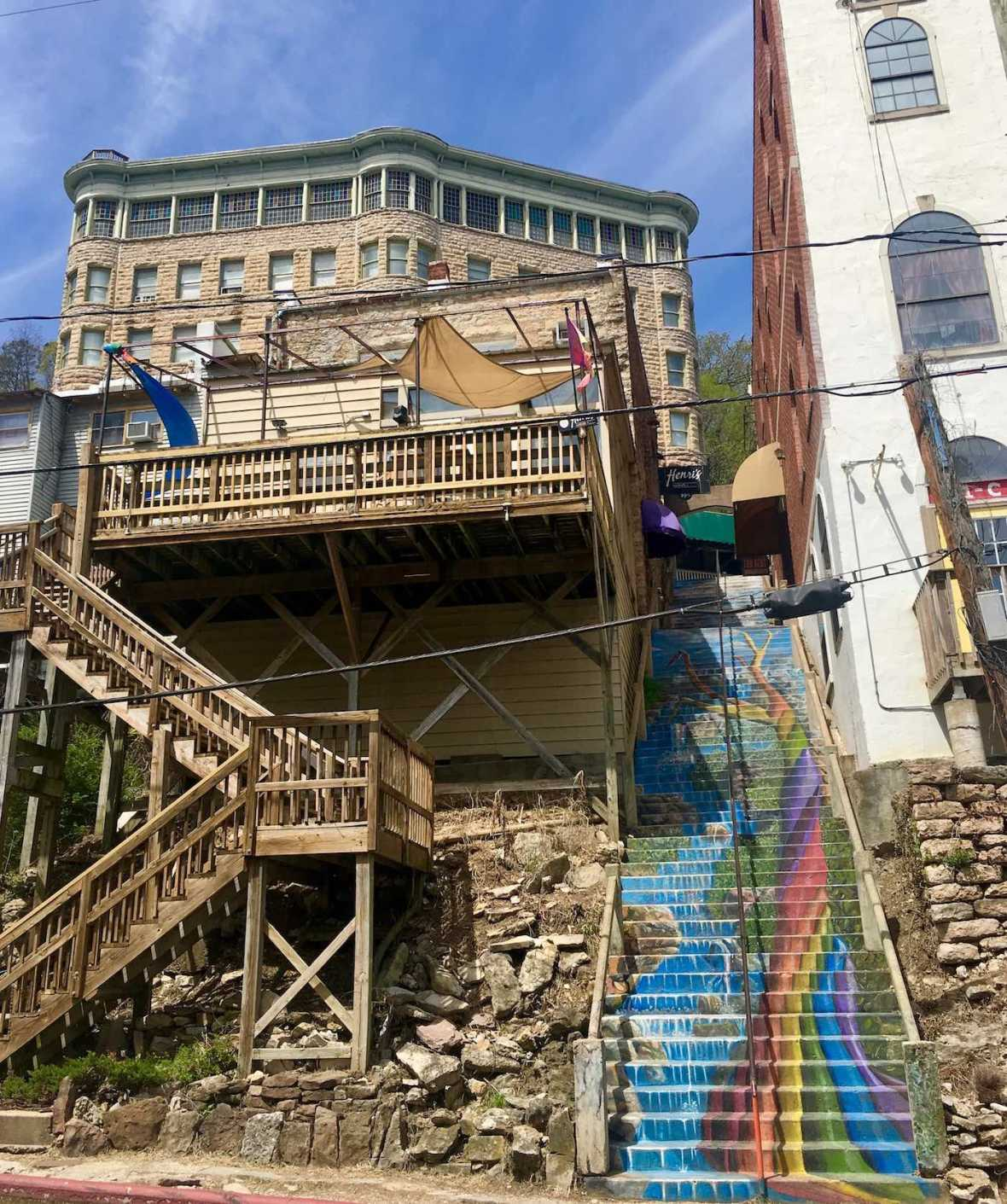 Rainbow tree art staircase in downtown Eureka Springs, Arkansas