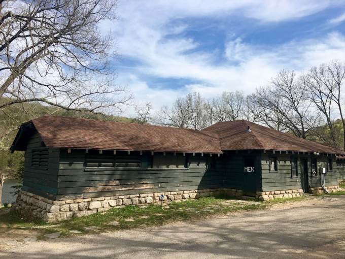 WPA era bath house at Lake Leatherwood Park in Eureka Springs, Arkansas