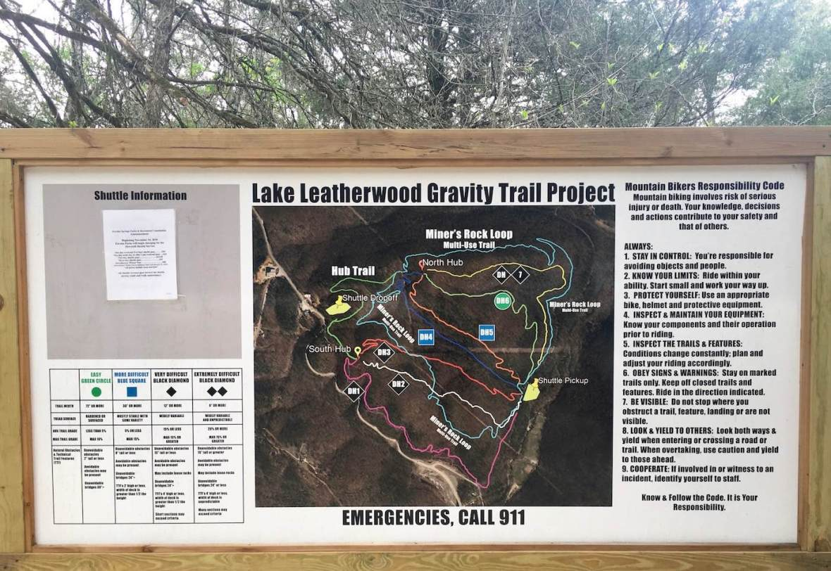 Lake Leatherwood Mountain Bike trail map in Eureka Springs, Arkansas